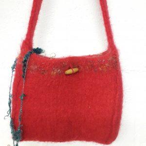 Red Wool Shoulder Bag