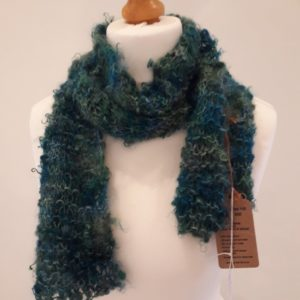 Green Chunky Knit Mohair Scarf