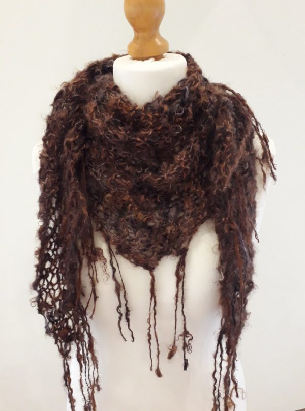 Fringed Brown Silk and Mohair Scarf