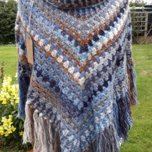 Wool handmade poncho in chunky blue and brown wool