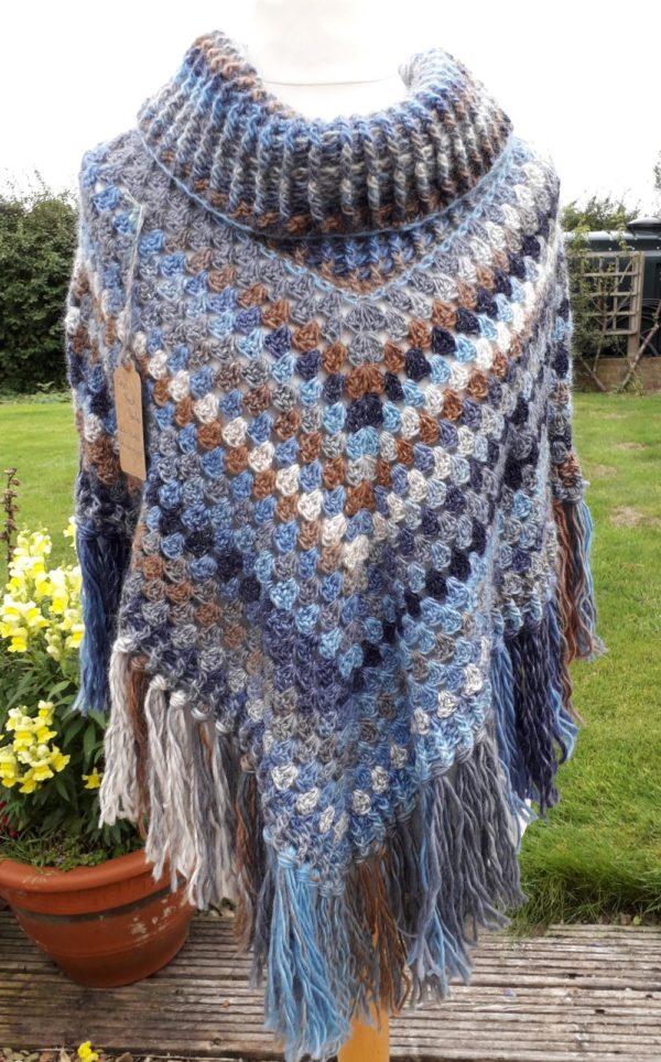 Wool handmade poncho in chunky blue and brown wool
