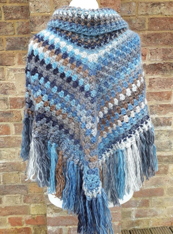 Crochet poncho back view
